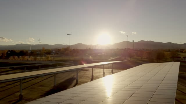 parking lot solar panels drone shot - joining the dots stock videos & royalty-free footage