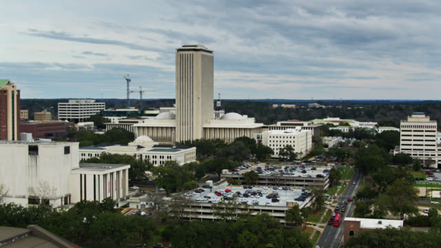 parking lots behind the state capitol in tallahassee - aerial - florida us state stock videos & royalty-free footage