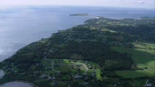 AERIAL Parks and recreational areas on Bay Island / Rhode Island, United States