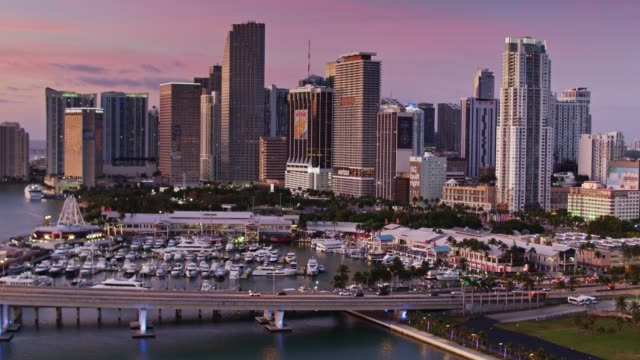 vídeos y material grabado en eventos de stock de parks, marinas, and skyscrapers in downtown miami at dawn - drone shot - bahía de biscayne