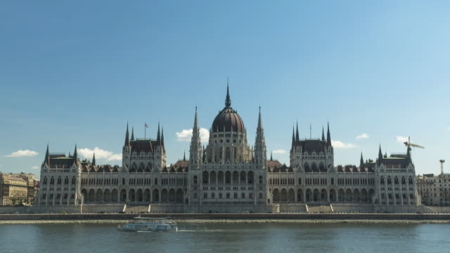 tl:   parliament building under clear blue sky in summer, budapest, hungary - hungary stock videos & royalty-free footage