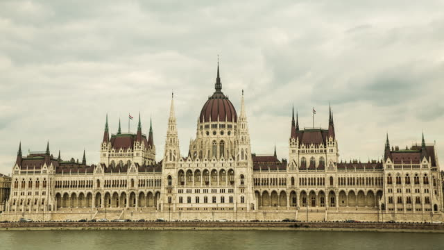 parliament buildings from the banks of the river danube - budapest stock videos & royalty-free footage