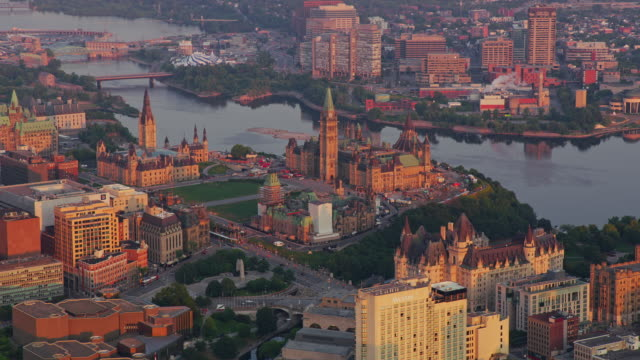 aerial parliament hill and downtown ottawa at sunrise - parliament hill stock videos & royalty-free footage