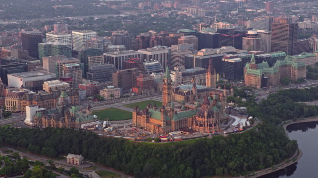 aerial parliament hill and downtown ottawa, canada, in the morning sun - parliament hill stock videos & royalty-free footage