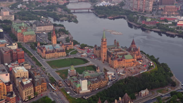aerial parliament hill and ottawa river with gatineau in the background - parliament hill stock videos & royalty-free footage