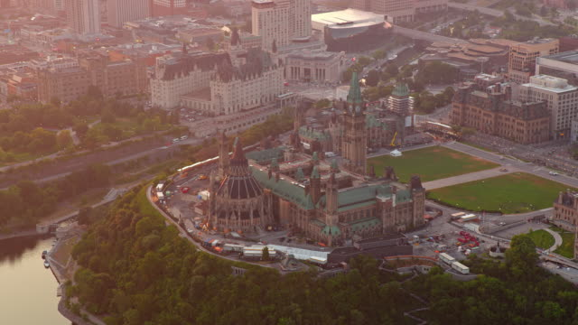 aerial parliament hill in ottawa in the morning light - parliament hill stock videos & royalty-free footage