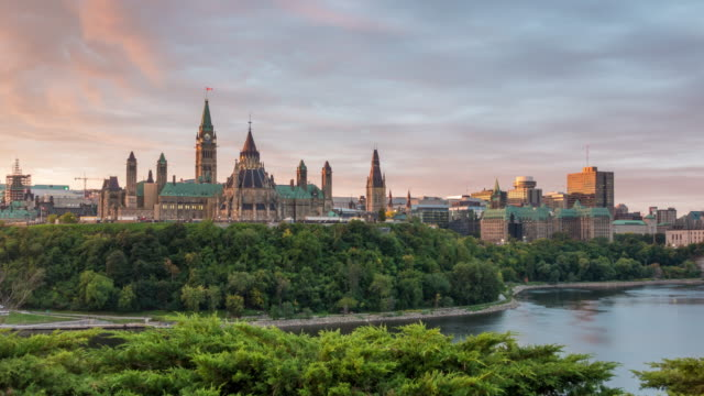 parliament hill in ottawa, ontario, canada at sunset - ottawa stock videos & royalty-free footage