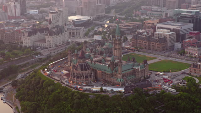 aerial parliament hill, ottawa, canada - parliament hill stock videos & royalty-free footage