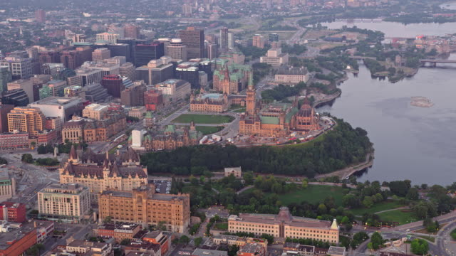 aerial parliament hill, ottawa, ontario - parliament hill stock videos & royalty-free footage