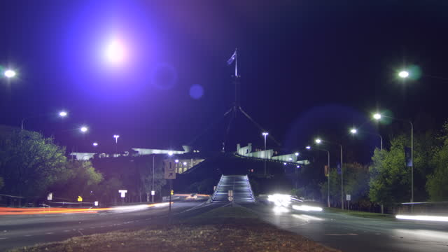 parliament house at night, australia - parliament building stock videos & royalty-free footage