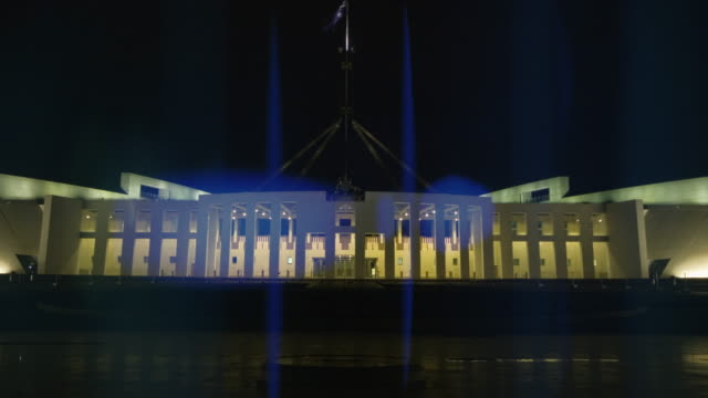parliament house at night, canberra, australia - parliament building stock videos & royalty-free footage