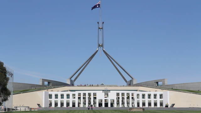 m/s parliament house exterior - australian politics stock videos & royalty-free footage