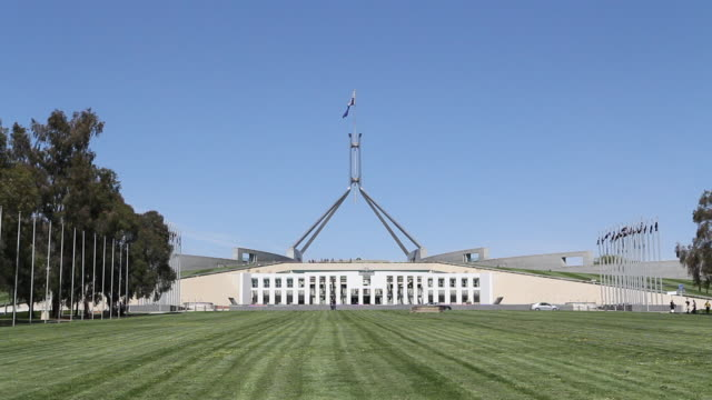 w/s parliament house exterior - australian politics stock videos & royalty-free footage