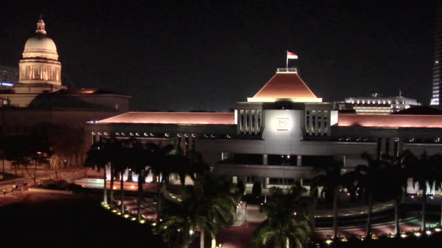MS, HA, Parliament House of Singapore illuminated at night