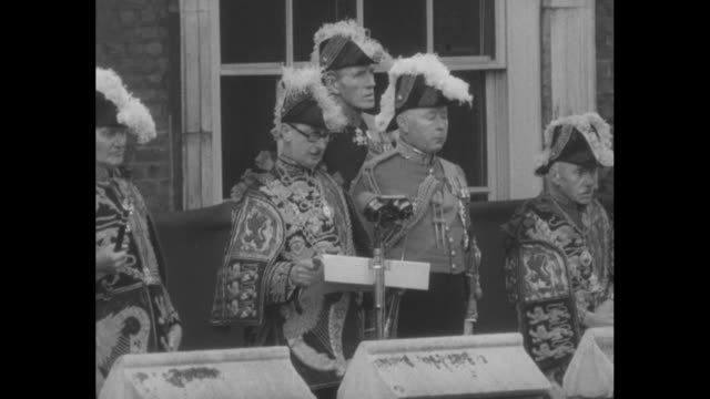 parliament in the fog / after trumpet fanfare george bellew garter king of arms reads the proclamation of accession the duke of norfolk bernard... - 1952 stock videos and b-roll footage