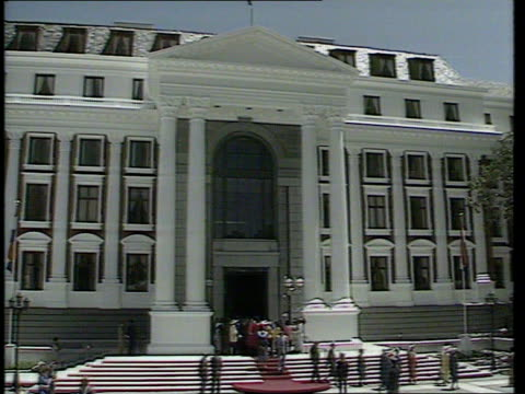 Parliament opens Apartheid POOL GV Entrance to Parliament building CMS Andries Treunicht intvw SOF It is not for De Klerk to say that there will not...