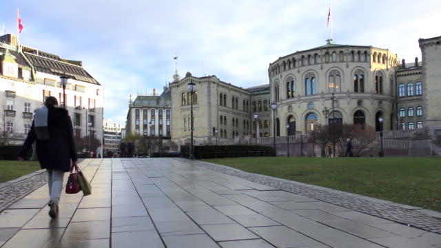 parliament (stortinge)- oslo, norway - parliament building stock videos & royalty-free footage