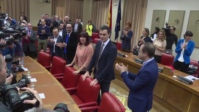 parliamentary groups of the spanish socialist workers party hold an extraordinary meeting as spains king on tuesday gave socialist party chief pedro... - socialist party stock videos and b-roll footage