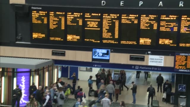 increased security at Euston Station as threat level is raised ENGLAND London Euston Station INT Various shots of the concourse at Euston Station and...