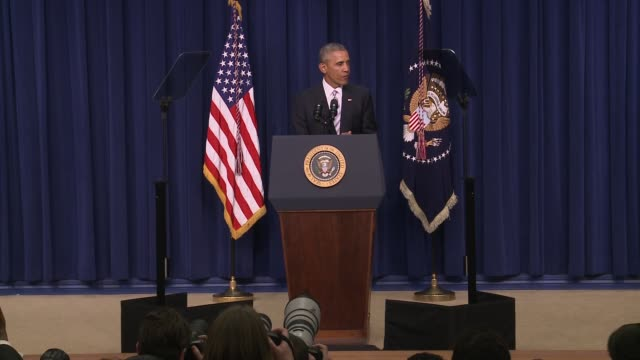 part 1 of 7 us president barack obama addresses day 1 of the summit on countering violent extremism which focused on domestic american issues and... - day 1 stock videos and b-roll footage