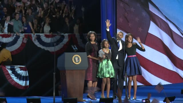 part 1 of five of barack obama's election night speech barack obama wins 2nd term at mccormick place convention center on november 07 2012 in chicago... - 2012 stock videos and b-roll footage