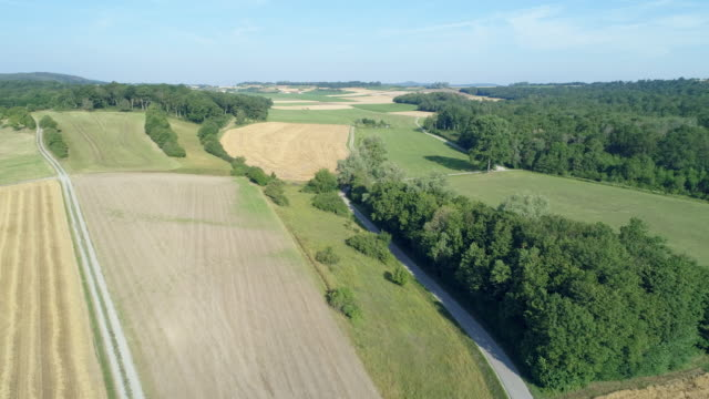 vidéos et rushes de part 2. aerial view rural road with agricultural fields and forest in rural landscape. franconia, bavaria, germany. - route de campagne
