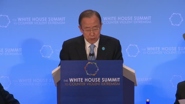 part 2 of 2 united nations secretary general ban kimoon addresses day two of the summit on countering violent extremism as hosted by the us state... - 2日目点の映像素材/bロール