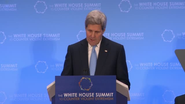 us secretary of state john kerry addresses day 2 of the summit on countering violent extremism as hosted by the us state department more than 60... - g8:s toppmöte bildbanksvideor och videomaterial från bakom kulisserna