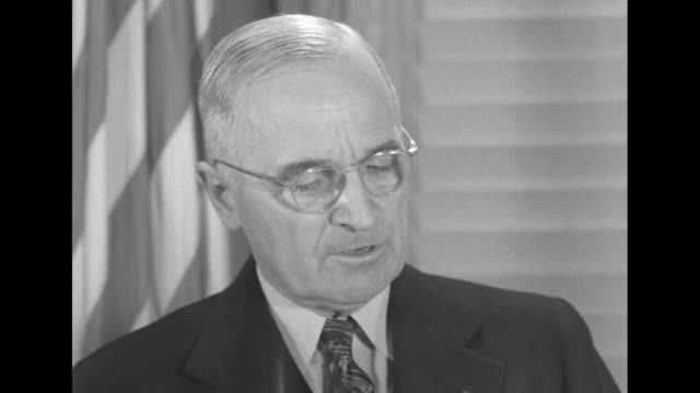 "[part 2 of 3] pres. harry s. truman continues statement at press conference, sot: ""in the united nations the first step is action by the security... - harry truman stock videos & royalty-free footage"