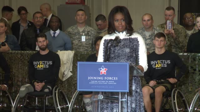 vídeos de stock e filmes b-roll de part 2 of michelle obama speech: prince harry visits fort belvoir, virginia to launch the american edition of the invictus games for wounded... - 2015