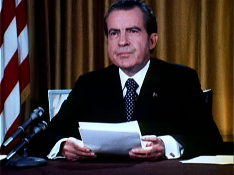 part 2 of nixon speech defending his office against watergate charges and how they have been cooperating with the fbi investigation and that he 'was... - 1973 stock videos & royalty-free footage