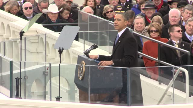 vídeos de stock e filmes b-roll de part 2 of president obama's inaugural address barack obama sworn into office for second term at us capitol west front on january 21 2013 in... - 2013