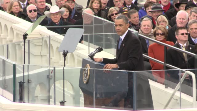 vídeos de stock e filmes b-roll de part 3 of us president barack obama's inaugural address barack obama sworn into office for second term at us capitol west front on january 21 2013 in... - 2013