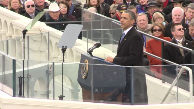 vídeos de stock e filmes b-roll de part 4 of us president barack obama's inaugural address barack obama sworn into office for second term at us capitol west front on january 21 2013 in... - 2013