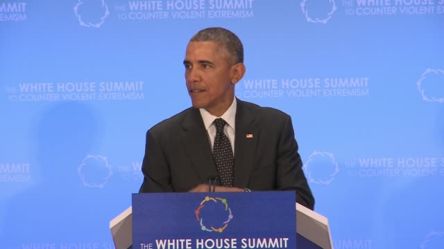 part 5 of 5 us president barack obama addresses day 2 of the summit on countering violent extremism as hosted by the us state department - 2日目点の映像素材/bロール