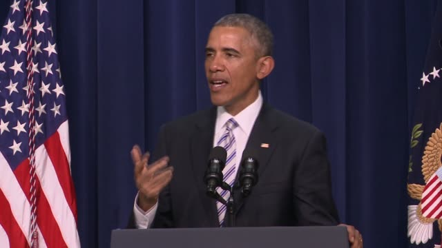 part 6 of 7 us president barack obama addresses day 1 of the summit on countering violent extremism which focused on domestic american issues and... - day 1 stock videos and b-roll footage