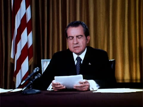 part 7 of nixon speech defending his office against watergate charges and changes focus to the future and his goals for a 2nd term in office and that... - anno 1973 video stock e b–roll