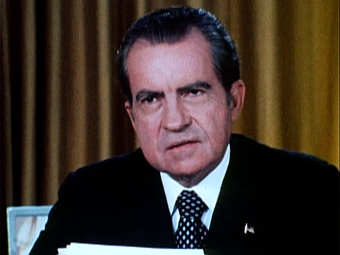 part 8 of nixon speech defending his office against watergate charges and saying 'the lesson is clear america in its political campaigns must not... - 1973 stock videos & royalty-free footage