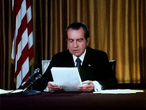 vídeos de stock, filmes e b-roll de part 9 of nixon speech defending his office against watergate charges and ends speech by saying, 'i looked at my own calendar this morning up at camp... - 1973