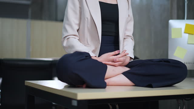 part of female are meditation at office - 2005 stock videos & royalty-free footage
