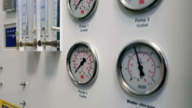 Part of medical equipment at hospital with pressure gauge - Stock video