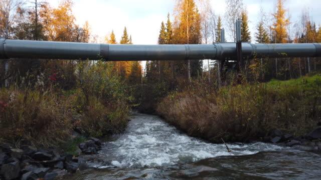 stockvideo's en b-roll-footage met a part of the trans alaska pipeline system is seen on september 17 2019 in fairbanks alaska the 800milelong pipeline carries oil from prudhoe bay to... - alaska verenigde staten