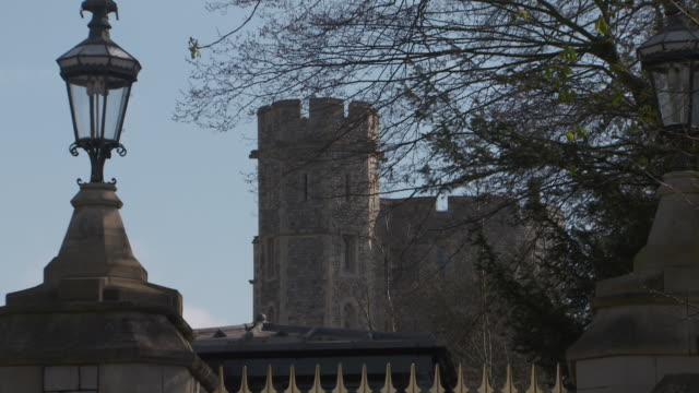 part of windsor castle where prince harry and meghan markle plan to marry seen through a tree windsor uk fkau104l clip taken from programme rushes... - windsor england stock videos and b-roll footage