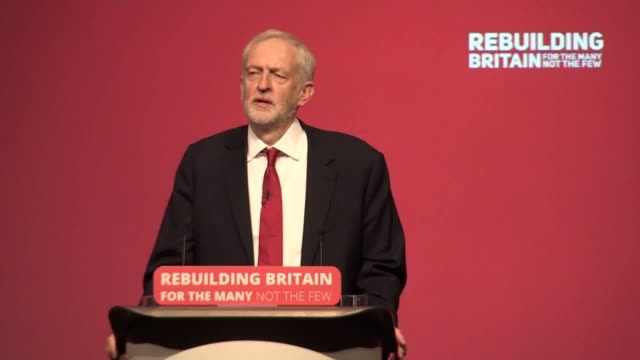 part three of jeremy corbyn's speech at the labour party conference in liverpool he discusses emissions targets and green jobs president trump... - jeremy corbyn stock videos & royalty-free footage