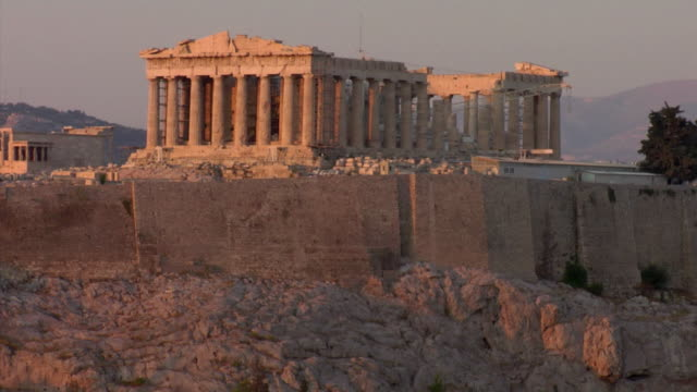 2008 ms parthenon at dusk / athens greece - parthenon athens stock videos & royalty-free footage