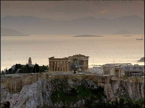 parthenon with sea and mountains in background athens - doric stock videos & royalty-free footage