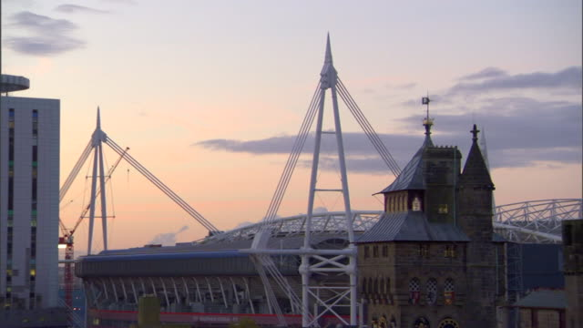 partial national stadium of wales millennium stadium in capital city cardiff wales rugby football welsh rugby union football association of wales... - millennium stadium stock videos & royalty-free footage