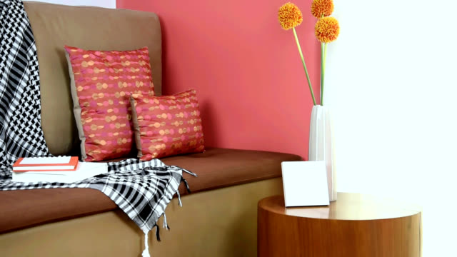 partial of sofa in modern living room/ interior design & renovation conceptual - bedclothes stock videos and b-roll footage