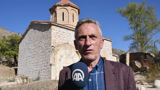 vídeos de stock e filmes b-roll de partial restoration of the imera monastery in turkey's black sea region has been completed. located in the olucak village of gumushane province, the... - arqueologia