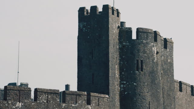 ms partial view of pembroke castle / pembroke, wales, united states - pembroke stock videos & royalty-free footage
